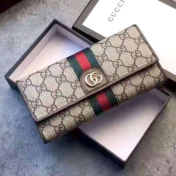 Free shipping-GUCCI Embroidery Double G Three Little Pigs Long Wallet Cards