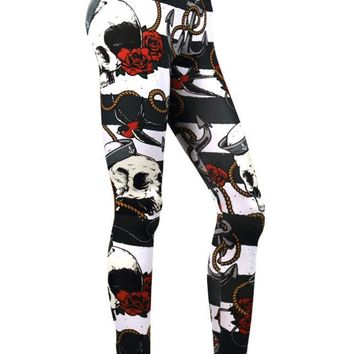 Liquor Brand Nautical Skull Black White Stripes Leggings