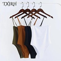 TXJRH Sexy Spaghetti Strap Backless fit Romper Body Siamese Bodysuit Slim Skinny Tight Jumpsuit Undershirt Playsuits 5 Color