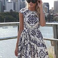 PAISLEY PRINT DRESS , DRESSES, TOPS, BOTTOMS, JACKETS & JUMPERS, ACCESSORIES, 50% OFF SALE, PRE ORDER, NEW ARRIVALS, PLAYSUIT, COLOUR, GIFT VOUCHER,,Blue,White,Print,SHORT SLEEVE,MINI Australia, Queensland, Brisbane