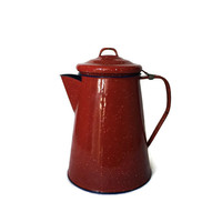Enamel Pitcher with Detachable Lid Speckled Red Blue Inside c1960