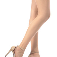 Beige Faux Patent Leather Ankle Strap Single Sole Heels