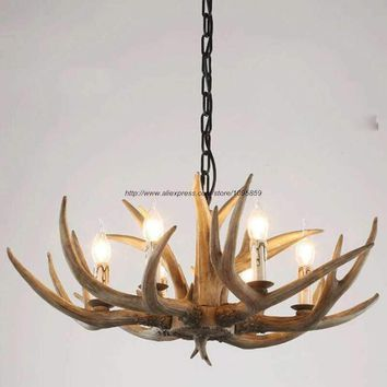 6/8 Lights Country Antler Chandelier Light Lamp Bedroom Buckhorn Vintage Ceiling Fixture Lighting