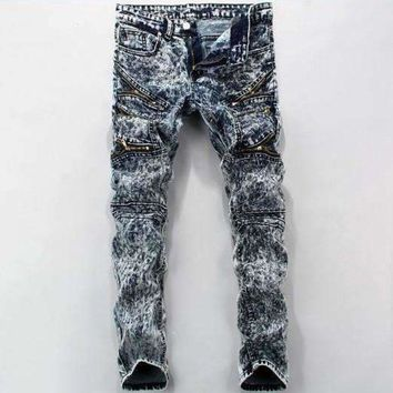 ICIKON3 men jeans snow color printing design straight zippers creases stretch skinny jeans camouflage jeans men