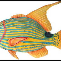 "Tropical Fish Wall Art - Hand Painted Metal Decor - 13"" x 18"""