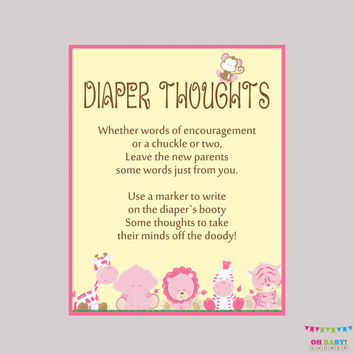 Girl Safari Baby Shower Diaper Thoughts Game Baby Shower - Printable Download - Write on Diaper Message Game, Words for Wee Hours - BS0001-P