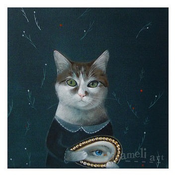 Cat , Print, illustration, Acrylic Painting Animal Painting Wall Decor Wall hanging Wall Art gift