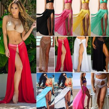 Women Swimwear Bikini Beach Wear Cover Up Kaftan Summer Long Skirt Sarong Dress