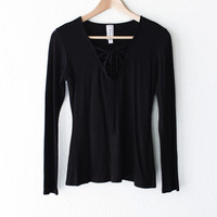 Lace Up V-neck Top - Black