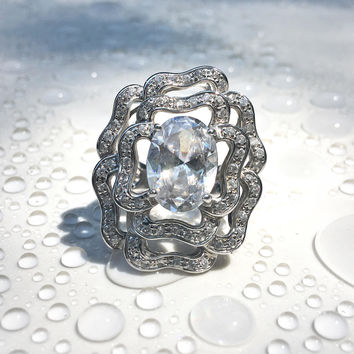 Vintage CZ Silver Filigree Ring, Vintage Floral Rose Ring in Sterling Silver, Roses Flower Jewelry