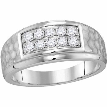 10kt White Gold Mens Round Diamond 2-tone Hammered Wedding Band Ring 1/2 Cttw