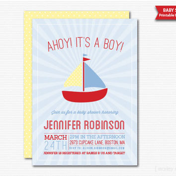 Ahoy! It's A Boy Baby Shower Printable Invitation Digital File PDF DIY Baby Sprinkle
