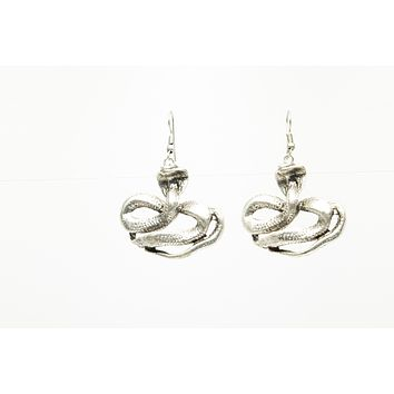 Cobra Snake Silver Plated Dangle Fashion Earrings