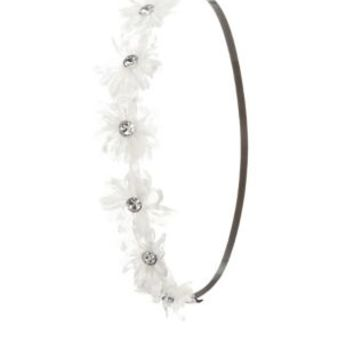 White Jeweled Lace Flower Head Wrap by Charlotte Russe