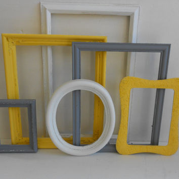 Custom Picture Frames - Gray Grey White & Yellow Collection - Vintage Ornate - Baby Nursery - Shabby Chic - Distressed - Gallery Wall