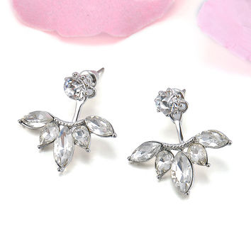 Crystal Leaves Ear Jackets