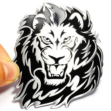 Car Decoration Animal Stickers Logo Metal 3D Creative Lion Aluminium Emblem Badge Decal Motorcycle Auto Styling Car Accessories