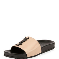 Saint Laurent Joan YSL Brooch Slide Sandal