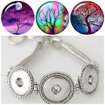 Noosa style bracelet plus 3 Chunk Charms that are interchangeable with snap style jewelry