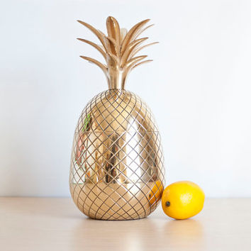 EXTRA Large Vintage Mid Century Brass Pineapple Vase, 12 inch Mad Men Style Barware Container Ice Bucket, Hospitality