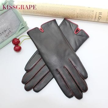 2017 Winter Women's Warm Natural Sheep Leather Gloves Goatskin Gloves High Quality Female Fleece Guantes Ladies Outdoor Mittens