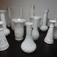 Vintage White Milk Glass Vases - Set of 16 - Wedding Table Centerpieces - Instant Collection - Various Shapes and Sizes