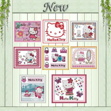 Hello kitty Kt cat lovely paintings counted printed on canvas DMC 11CT 14CT Chinese Cross Stitch kits embroidery needlework Sets