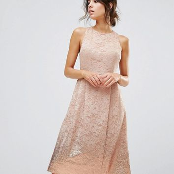 Warehouse Foil Lace Dress at asos.com