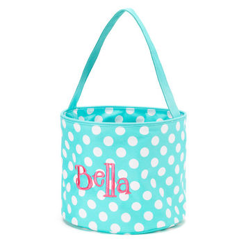 Easter Basket Aqua Polka Dot Tote Bucket  -  Personalized Monogrammed