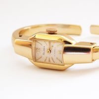 Rarest Soviet Russian Antique Ladies Watch Slava Gold plated Crab Claw Bangle colectible watch