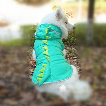 Dinosaur Winter Jackets For Dogs For Large And Small Animals Red Blue Small Puppy And Big Pets Hoodie Costume With Hats AS5 XXXL