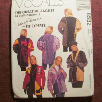 Sale Uncut 1996 McCall's Sewing Pattern, 8532! 12-14 Medium/Women's/Misses/Lined or Unlined Jackets/Kimono Sleeves/Shawl Collared Coat/Winte