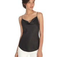 White House | Black Market Drape Neck Chain Trim Black Shell Top