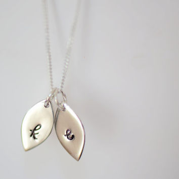 Mommy Necklace - Initial Leaf Petal Necklace , Leaf Initial Necklace , Mother's Necklace , Sterling Silver Necklace