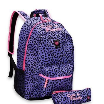 Cutie Patootie Adorable Purple Cheetah Backpack And Pencil Pouch