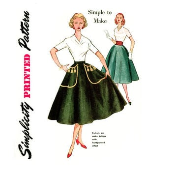 1950s Circle Skirt Pattern Waist 24 Simplicity 4301 Easy To Make Skirt with Applique Transfer or Cummerbund Womens Vintage Sewing Pattern