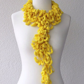 Yellow Pom Pom Scarf Long Mulberry Scarf Christmas Gift