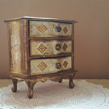 Florentine Wood Three Drawer Gold Leaf Painted Jewelry Chest