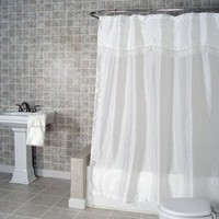 Jenny White Fabric Shower Curtain with attached Macrame Trimmed Valance