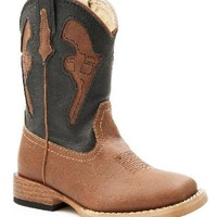 Roper Baby Boys' Pistol Inlay Square Toe Cowboy Boot Tan 8 US