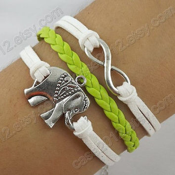 Fashion jewelry bracelet - wisdom bracelet, elephant bracelet, infinite charm bracelet, apple green leather bracelet
