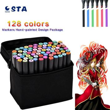 128 Colors Double Headed Sketch Alcohol Designers Marker Pen 20 Optional 24 36 48 60 72 PCS Set Paint Sketch Art Copic Marker
