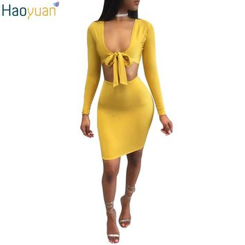 HAOYUAN Sexy Bandage Two Piece Set Yellow Long Sleeve V Neck Crop Top And Skirt Set 2017 Summer Bodycon Casual 2 Piece Set Women