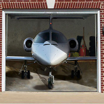 3D EFFECT GARAGE DOOR BILLBOARD COVER STICKER PLANE LEARJET 8,04x6,89 FEET