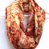 Peach Infinity Scarf. Circle scarf. Loop Scarf. Women Accessories. Cheetah Scarf