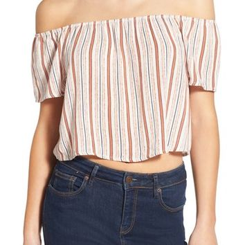 Ten Sixty Sherman Stripe Off the Shoulder Crop Top | Nordstrom