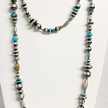 Sunwest Jewelry~ Kingman Turquoise and Navajo Pearl Double Wrap Necklace