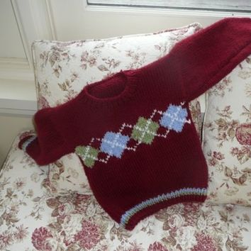 Child's Red Argyle Sweater Size 4
