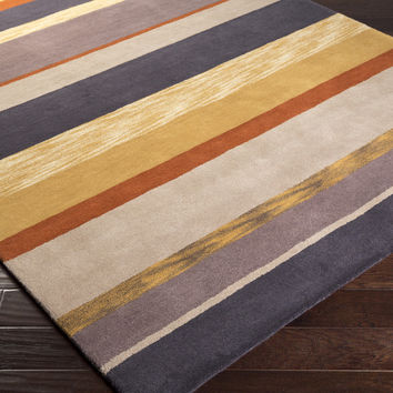 Sanderson Area Rug | Gold Stripes Rugs Hand Tufted | Style SND4521