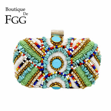 Vintage Colorful Beaded Stones Patchwork Women Gold Evening Bag Box Clutch Purse Ladies Party Dinner Handbag Bridal Wedding Bag